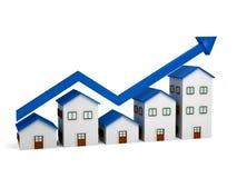 Wachsendes Diagramm über Häusern 3d Stockfotos