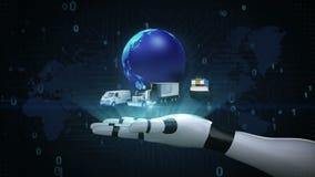 Wachsendes globales Netzwerk mit Flugzeug, Zug, Schiff, Autotransport, Weltkarte, Erde auf Roboter Cyborgpalme, Hand, Roboterarm, stock abbildung
