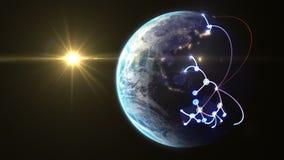 Wachsendes Netz über der Welt stock video footage