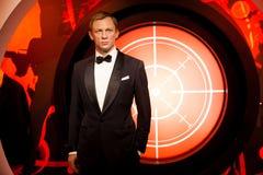 Wachsfigur von Daniel Craig als Mittel James Bonds 007 in Museum Madame Tussauds Wax in Amsterdam, die Niederlande Stockbild