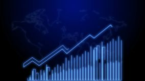 Wachstum des Geschäfts-4k und Erfolgs-Pfeil Infographics-Animation eines Geschäft infographics blauen Neons stock abbildung