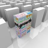 Wachstum fasst einen Kasten-besten Produkt-Wettbewerbsvorteil-Vorteil ab Stockbild
