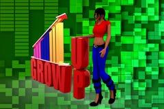 Wachstums-Stangenillustration der Frau 3D Stockbild