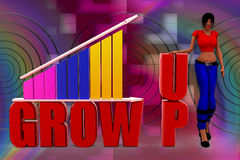 Wachstums-Stangenillustration der Frau 3D Lizenzfreies Stockbild