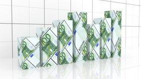 Wachstumsdiagramm mit Eurobanknote Lizenzfreies Stockfoto