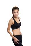 Wachstumsporträt der Eignungsfrau in der Sportkleidung Stockfotos
