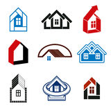 Wachstumstendenz der Immobilienbranche - einfache Hausikonen Abstr. Stockbilder