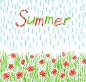 Wachszeichenstift-Kind-` s Hand gezeichnete rote Blumen mit grünem Gras, Regenschauer und Text Stockfotos