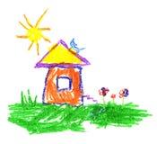 Wachszeichenstift mögen Kind-` s Handzeichnungshaus, -katze, -sonne und -gras vektor abbildung