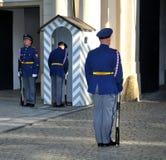Wacht bij het Kasteel van Praag Stock Fotografie
