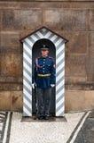 Wacht in de ingang van het kasteel van Praag `s Royalty-vrije Stock Fotografie