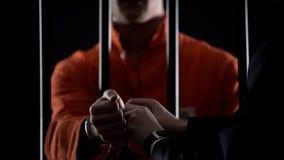 Wacht die handcuffs verwijderen uit misdadiger, die van gevangenis toe te schrijven aan goed gedrag bevrijden stock fotografie