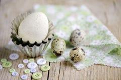 Wachtel-Eier und Duck Egg Lizenzfreie Stockfotos