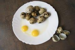 Wachteleier auf einer weißen Platte Zwei Eier ist defekt Stockbilder