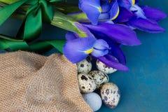 Wachteleier und irise Blumen Lizenzfreie Stockfotos