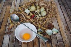 Wachteln nisten mit beschmutzten Eiern, Löffel, gebrochenes Ei auf einer Platte Stockfotos