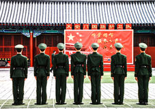 Wachten bij Tiananmen-vierkant, Peking, China 1 Stock Foto's