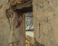 Wachturm durch das Fenster lizenzfreie stockfotos
