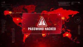 Wachtwoord binnendrongen in een beveiligd computersysteem waakzame waarschuwingsaanval op de kaart van de het schermwereld stock illustratie