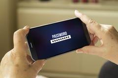 Wachtwoordsmartphone Stock Foto