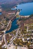 Wachusett水坝鸟瞰图 免版税库存照片
