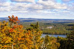 Wachusett Mountain autumn view. Across lakes and hills Royalty Free Stock Images