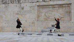 Wachwechsel, griechisches Parlament stock video footage