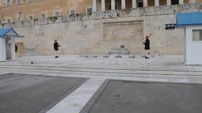 Wachwechsel, griechisches Parlament stock footage