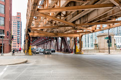 Wacker Drive of Downtown Chicago, urban scene. Stock Images