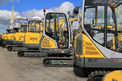 Wacker Neuson Compact Excavators Lined up Royalty Free Stock Photo
