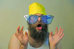 Wacky Excited Bearded Man. A wacky bearded man hoots in excitement Royalty Free Stock Image