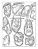 Wacky humor vector faces black and white line art Stock Photos