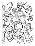 Wacky humor vector faces black and white line art Royalty Free Stock Images
