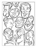 Wacky humor vector faces black and white line art Royalty Free Stock Photo