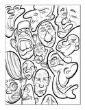 Wacky humor vector faces black and white line art Royalty Free Stock Photos