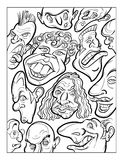 Wacky humor vector faces black and white line art Stock Images