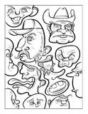 Wacky humor vector faces black and white line art Royalty Free Stock Image