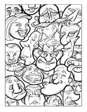 Wacky humor vector faces black and white line art Stock Image