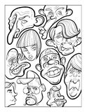 Wacky humor vector faces black and white line art Stock Photography