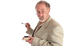Wacky professor. With marker and eraser on white Royalty Free Stock Photography