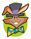 Wacky Rabbit with Top Hat and Bow Tie Stock Photo
