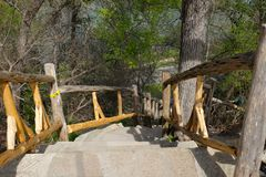 Jacob's Ladder in Cameron Park. WACO, TEXAS - MARCH 19, 2018: Jacob's Ladder in Cameron Park. Climbing this stone staircase of 88 steep steps rising 100 Royalty Free Stock Photography