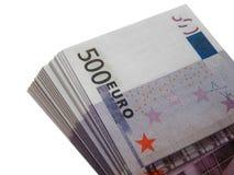 Wad των χρημάτων για 500 ευρώ Στοκ φωτογραφία με δικαίωμα ελεύθερης χρήσης