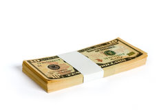 Wad of 10 dollar bank notes Stock Photos
