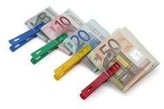 Wad of bills. Several bundles of euro notes of different values royalty free stock photos