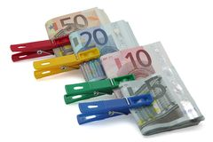 Wad of bills. Several bundles of euro notes of different values royalty free stock images
