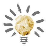 Wad of crumpled paper in the form of light bulbs Royalty Free Stock Images