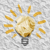 Wad of crumpled paper in the form of light bulbs Royalty Free Stock Photos