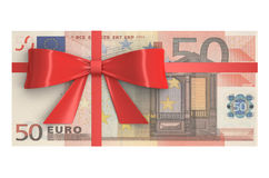 Wad of 50 Euro banknotes with red bow, gift concept. 3D renderin. G royalty free illustration