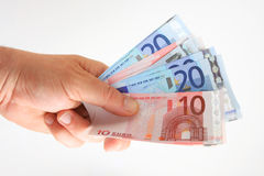 Wad of euros Royalty Free Stock Images